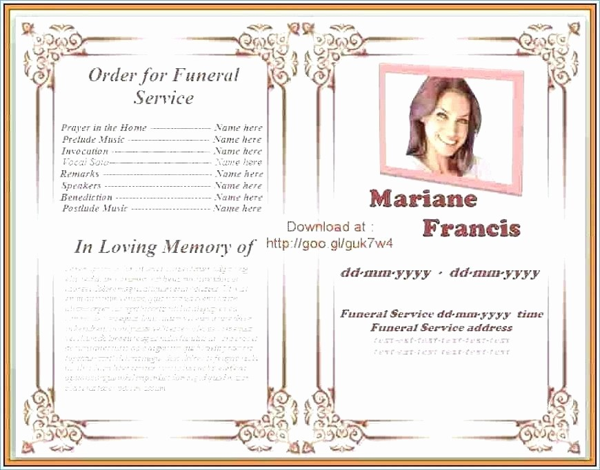 Funeral Program Template Word 2010 Awesome Download Microsoft Program Template Funeral Word Free