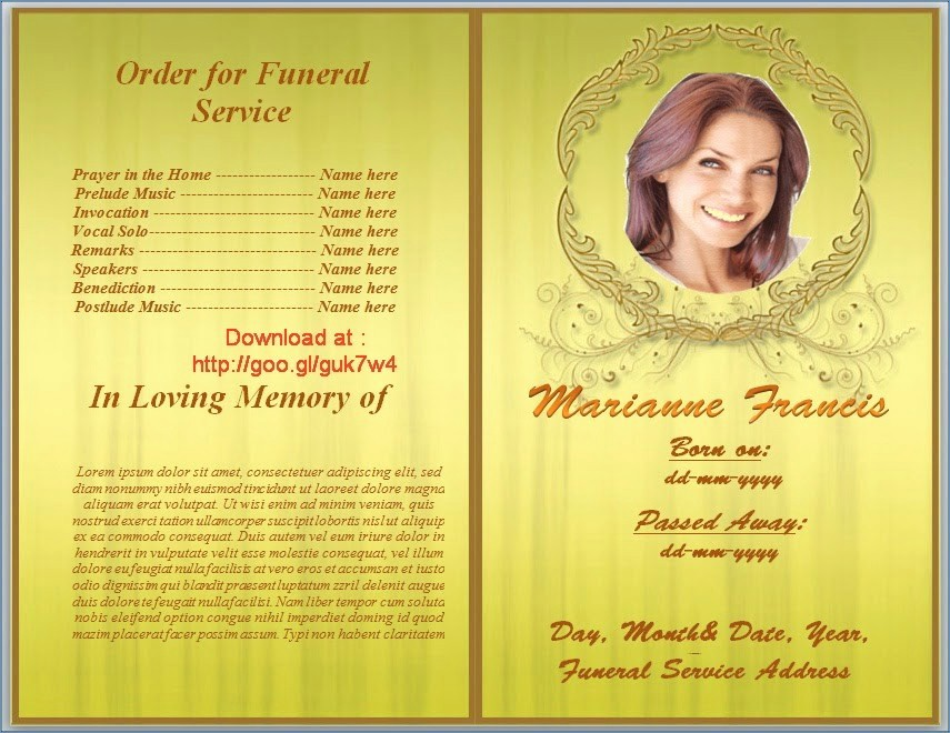 Funeral Program Template Word 2010 Awesome Free Funeral Program Template Download 2010
