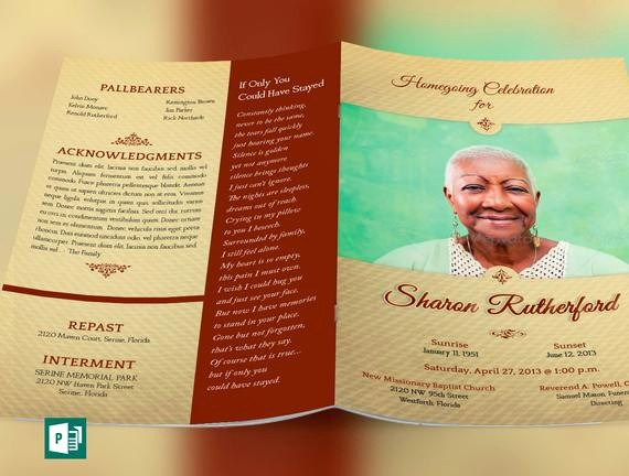 Funeral Program Template Word 2010 Awesome Home Going Funeral Program Publisher Template From Godserv