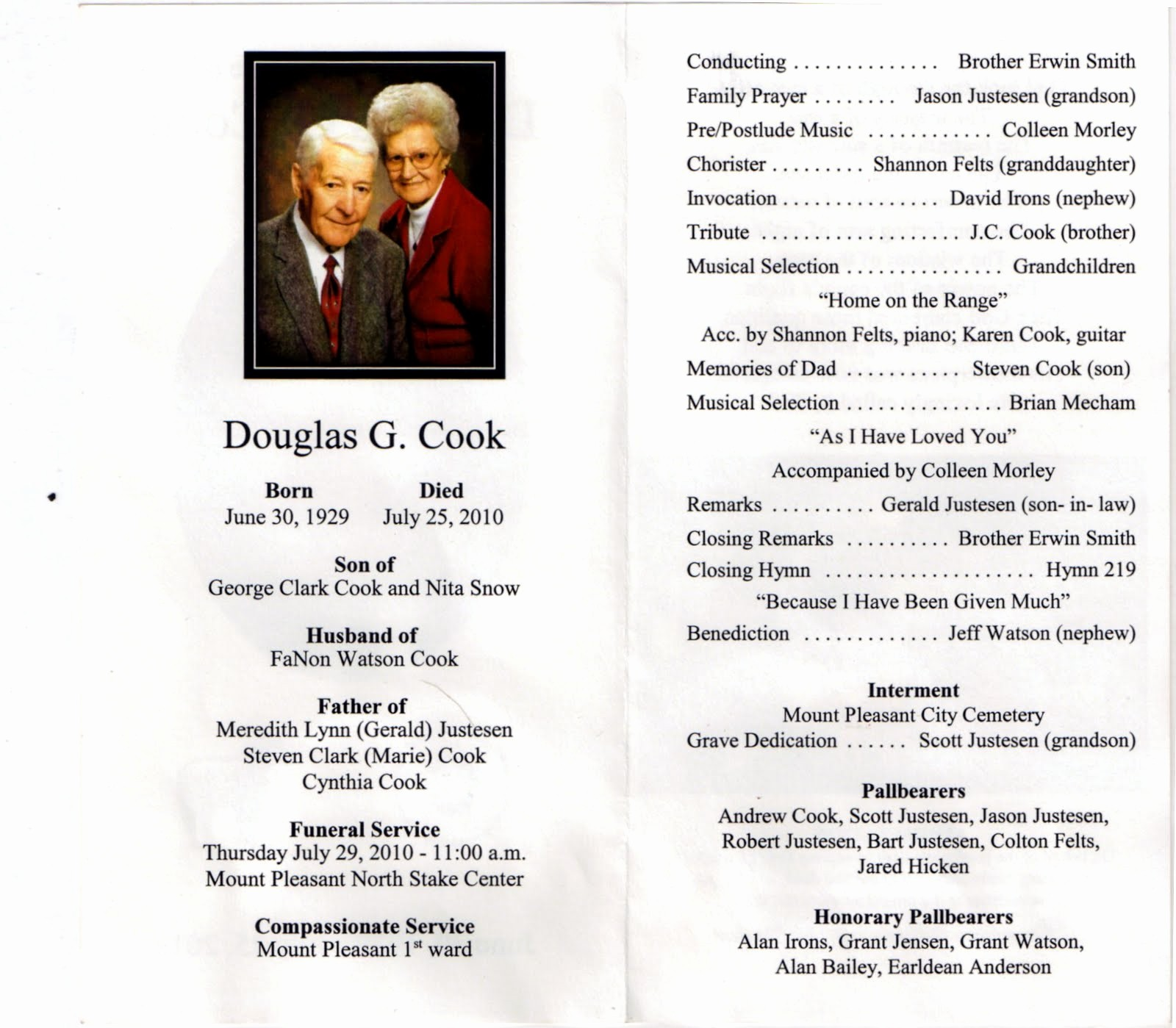 Funeral Program Template Word 2010 Awesome Mt Pleasant Obituary Page July 2010