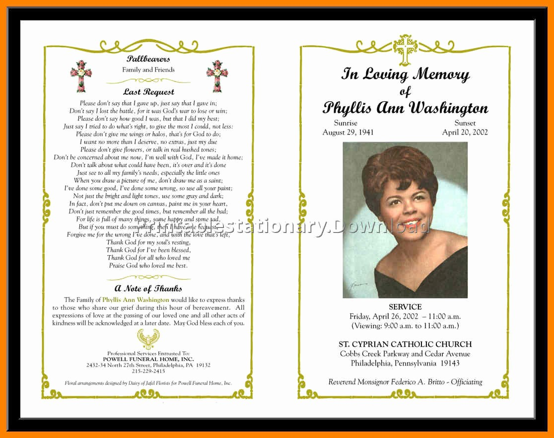 Funeral Program Template Word 2010 Beautiful Free Funeral Program Template Microsoft Word