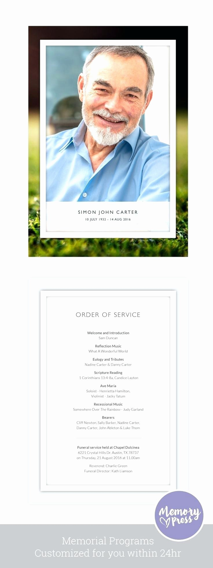 Funeral Program Template Word 2010 Beautiful Funeral Service Booklet Template