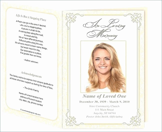 Funeral Program Template Word 2010 Luxury Funeral Card Template Microsoft Word Memorial Programs and