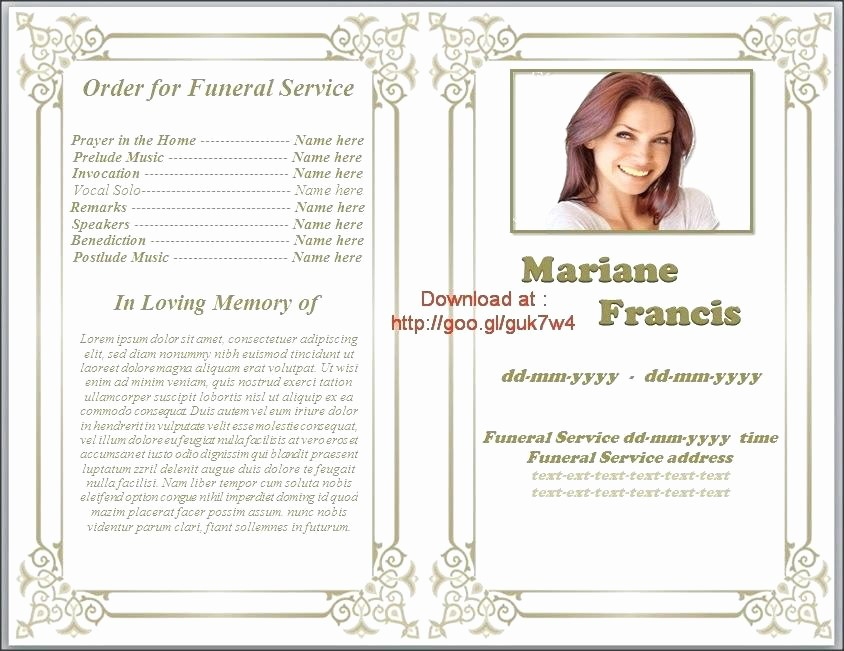 Funeral Program Template Word 2010 New Printable Funeral Program Template Memorial Obituary