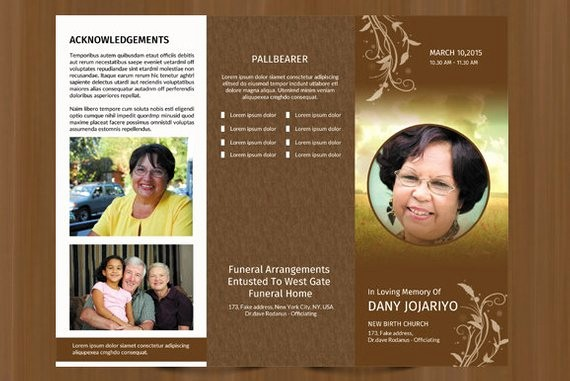 Funeral Program Template Word 2010 New Trifold Funeral Program Template Obituary Program Template