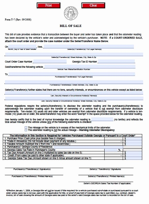 Ga Automobile Bill Of Sale Best Of Download Georgia Bill Of Sale forms and Templates Wikidownload