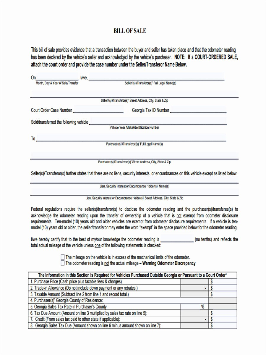 Ga Automobile Bill Of Sale New 6 Vehicle Bill Of Sale form Sample Free Sample Example
