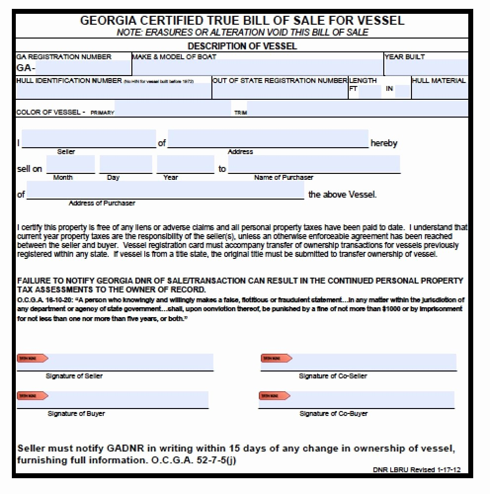 Ga Automobile Bill Of Sale New Free Georgia Boat Bill Of Sale form Pdf