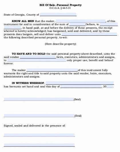 Ga Automobile Bill Of Sale New Free Georgia Personal Property Bill Of Sale form