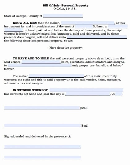 Ga Car Bill Of Sale Inspirational Free Georgia Personal Property Bill Of Sale form