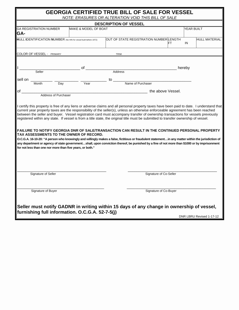 Ga Car Bill Of Sale New Free Georgia Vessel Bill Of Sale form Pdf