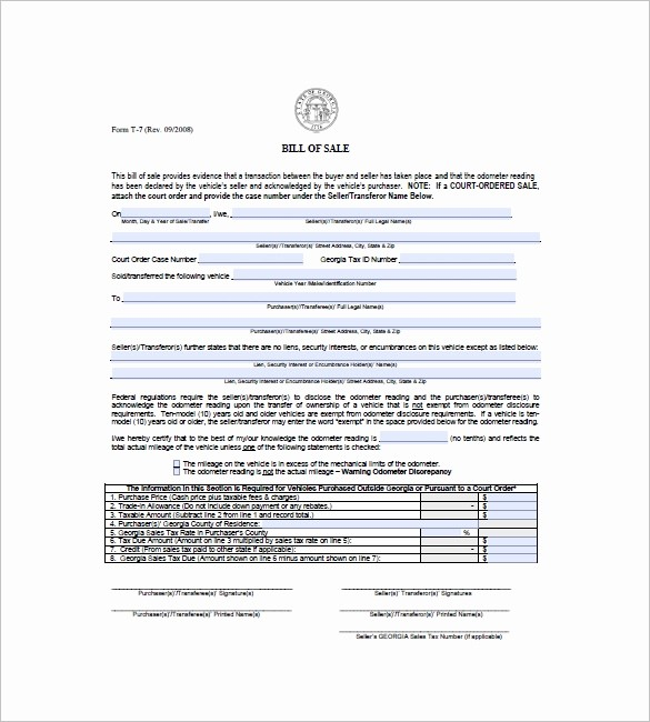 Ga Vehicle Bill Of Sale Awesome Car Bill Of Sale – 10 Free Sample Example format