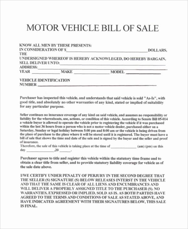 Ga Vehicle Bill Of Sale Elegant Bill Sale for Car In Ga