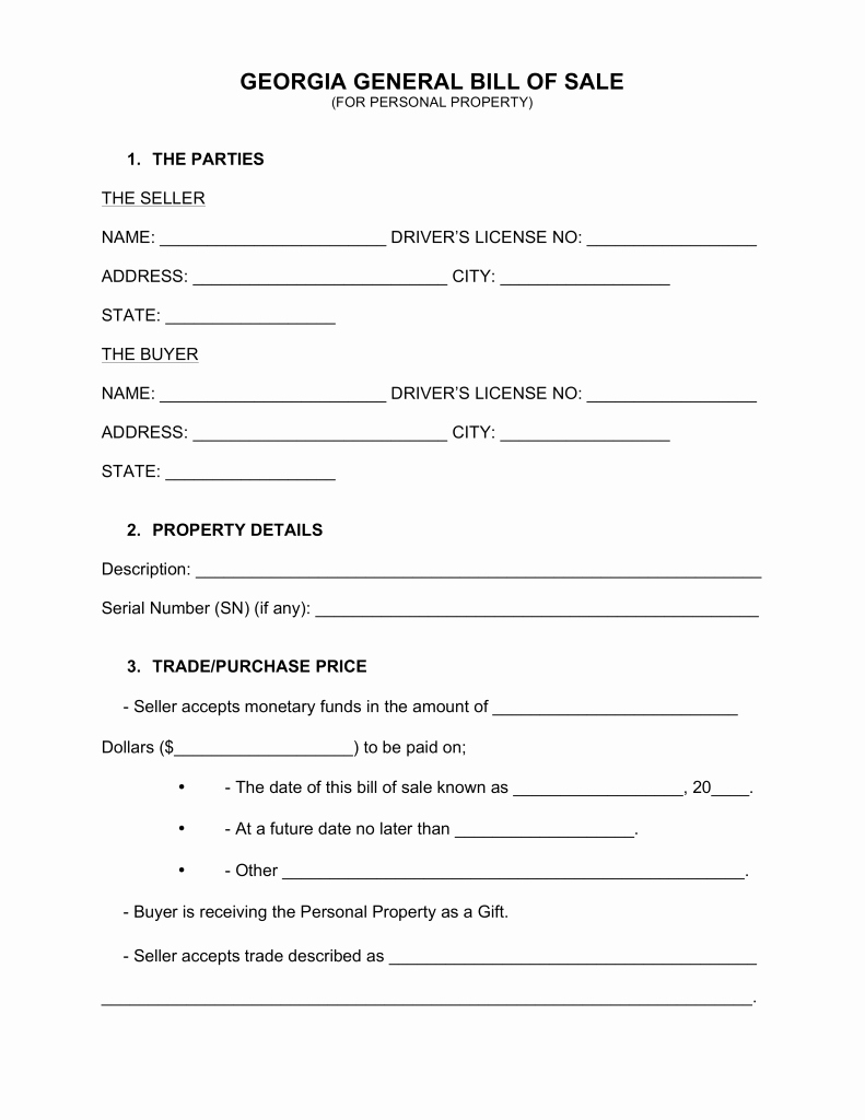Ga Vehicle Bill Of Sale Unique Bill Sale form Ga Trailer atv Free Auto Mobile Home