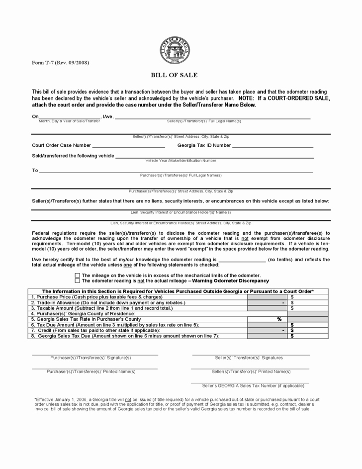 Ga Vehicle Bill Of Sale Unique Vehicle Bill Of Sale Georgia Free Download
