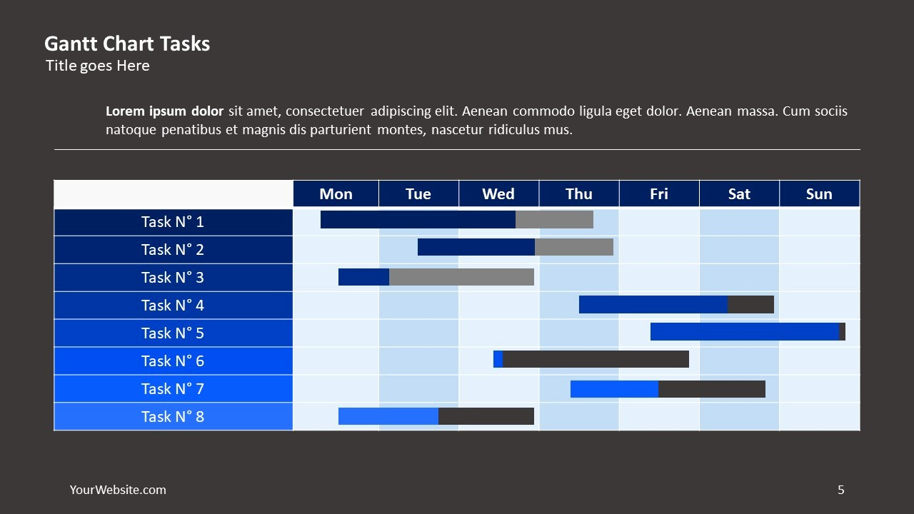 Gantt Chart Powerpoint Template Free Unique Gantt Chart Tasks Ppt Slide Ocean