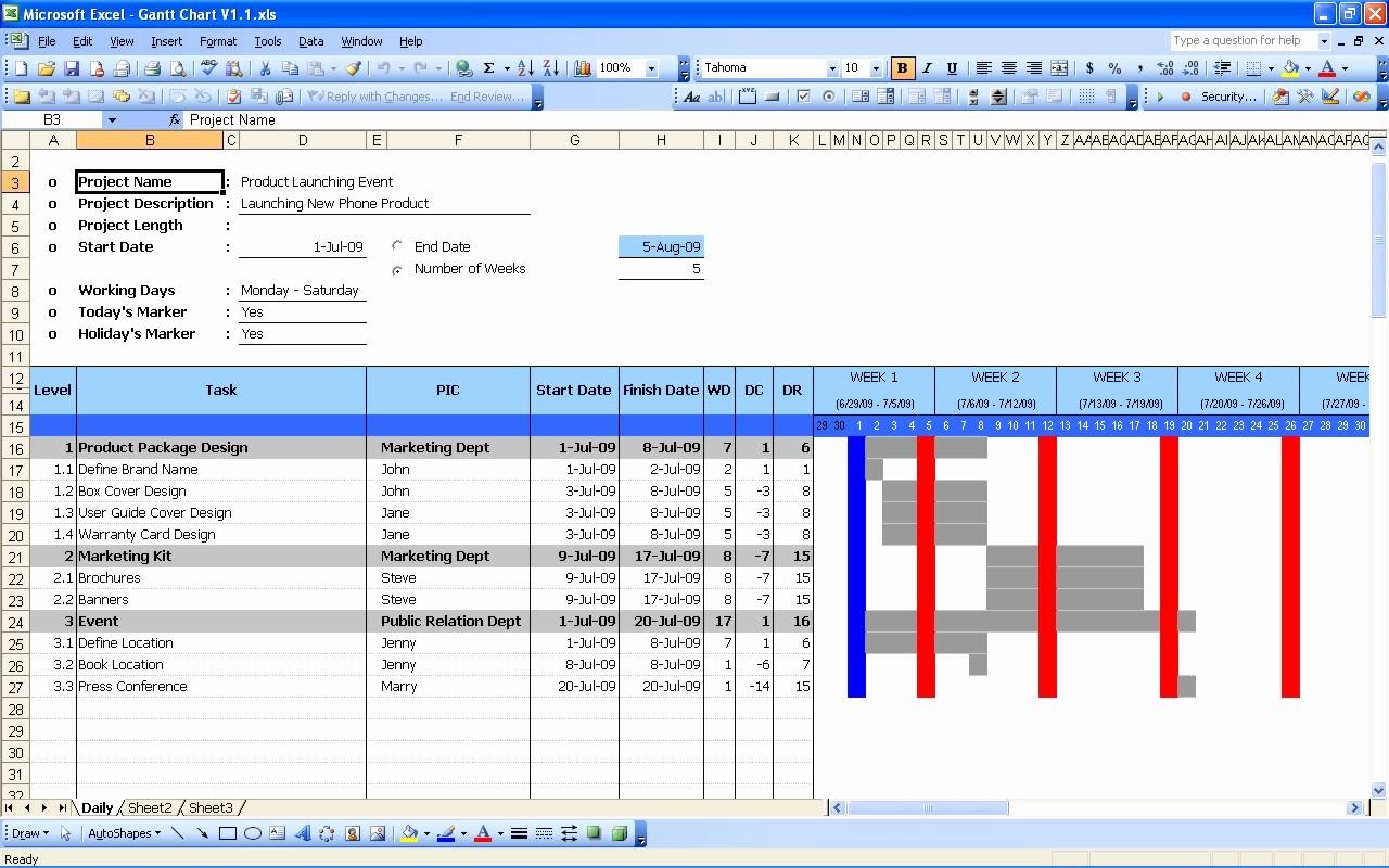 Gantt Chart Template for Excel Elegant Gantt Chart