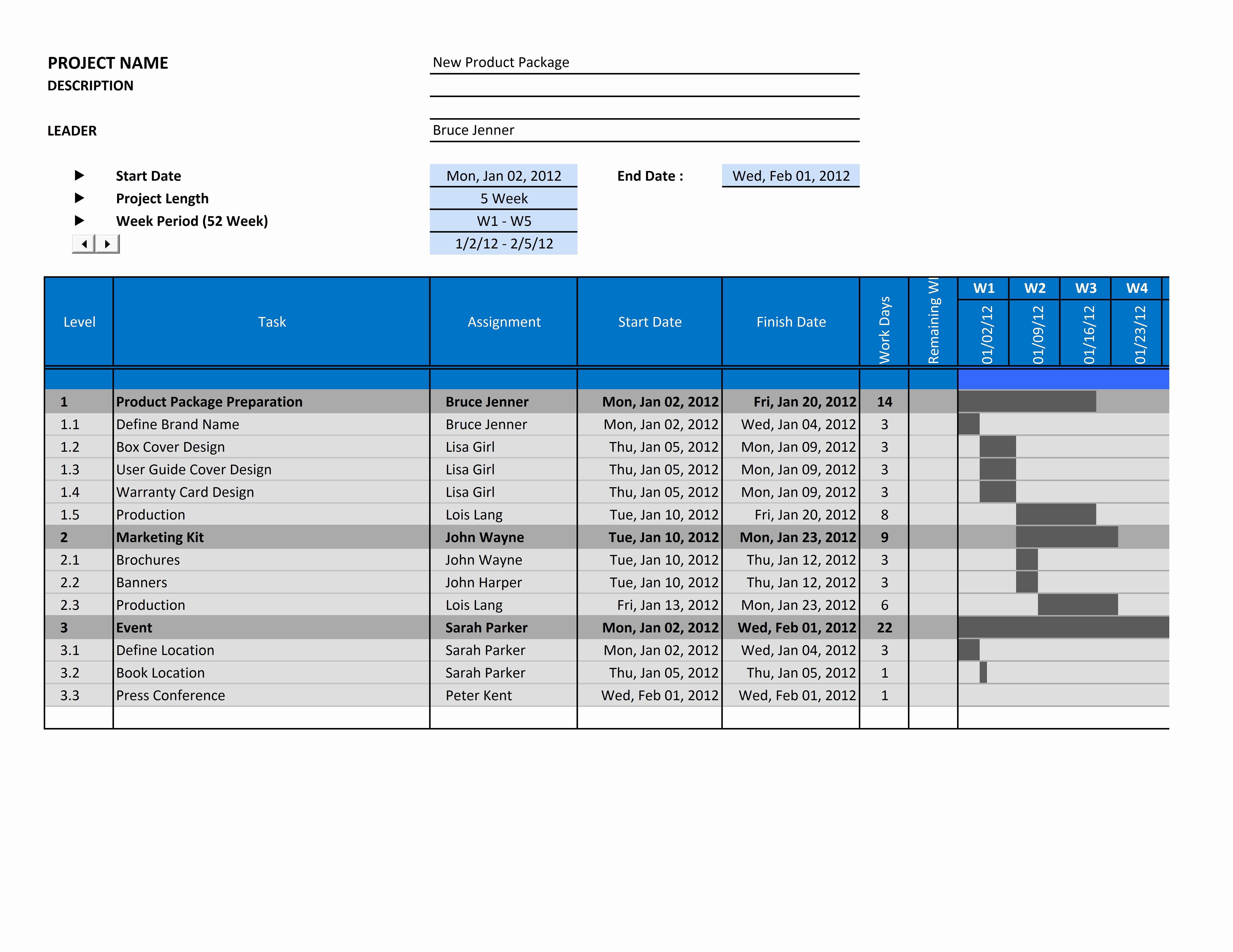 Gantt Chart Template for Excel Inspirational Free Gantt Chart Template