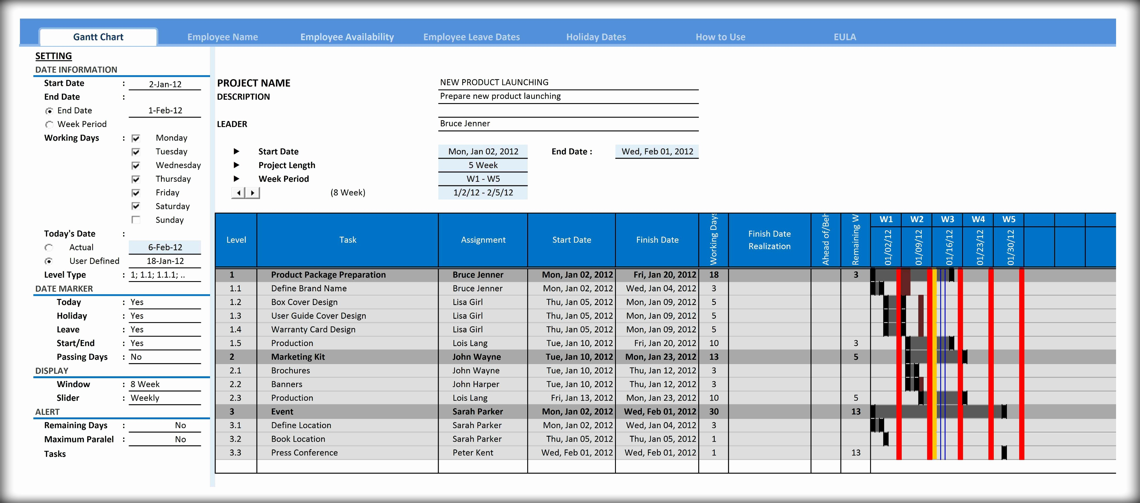 Gantt Chart Template for Excel Lovely Gantt Chart Template for Excel Excelindo