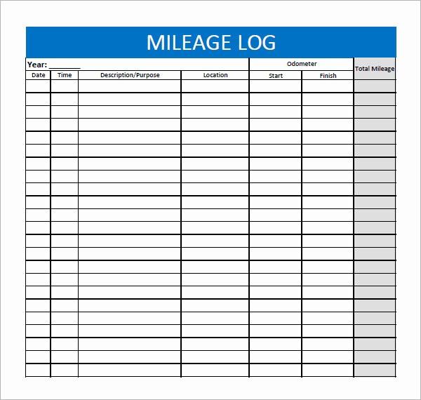 Gas Mileage Log Sheet Free Awesome 13 Sample Mileage Log Templates to Download