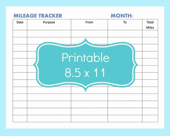 Gas Mileage Log Sheet Free Fresh Mileage Tracker form Printable Printable Mileage Tracker