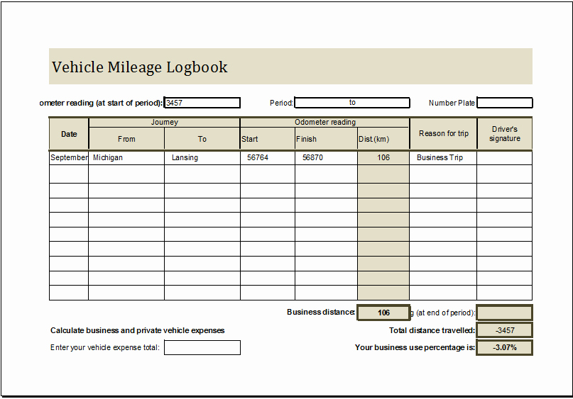 Gas Mileage Log Sheet Free Inspirational Vehicle Mileage Log Book Ms Excel Editable Template