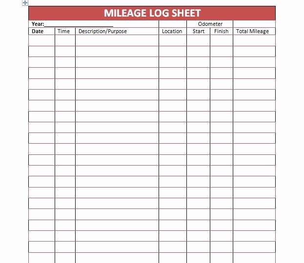 Gas Mileage Log Sheet Free Lovely 30 Printable Mileage Log Templates Free Template Lab