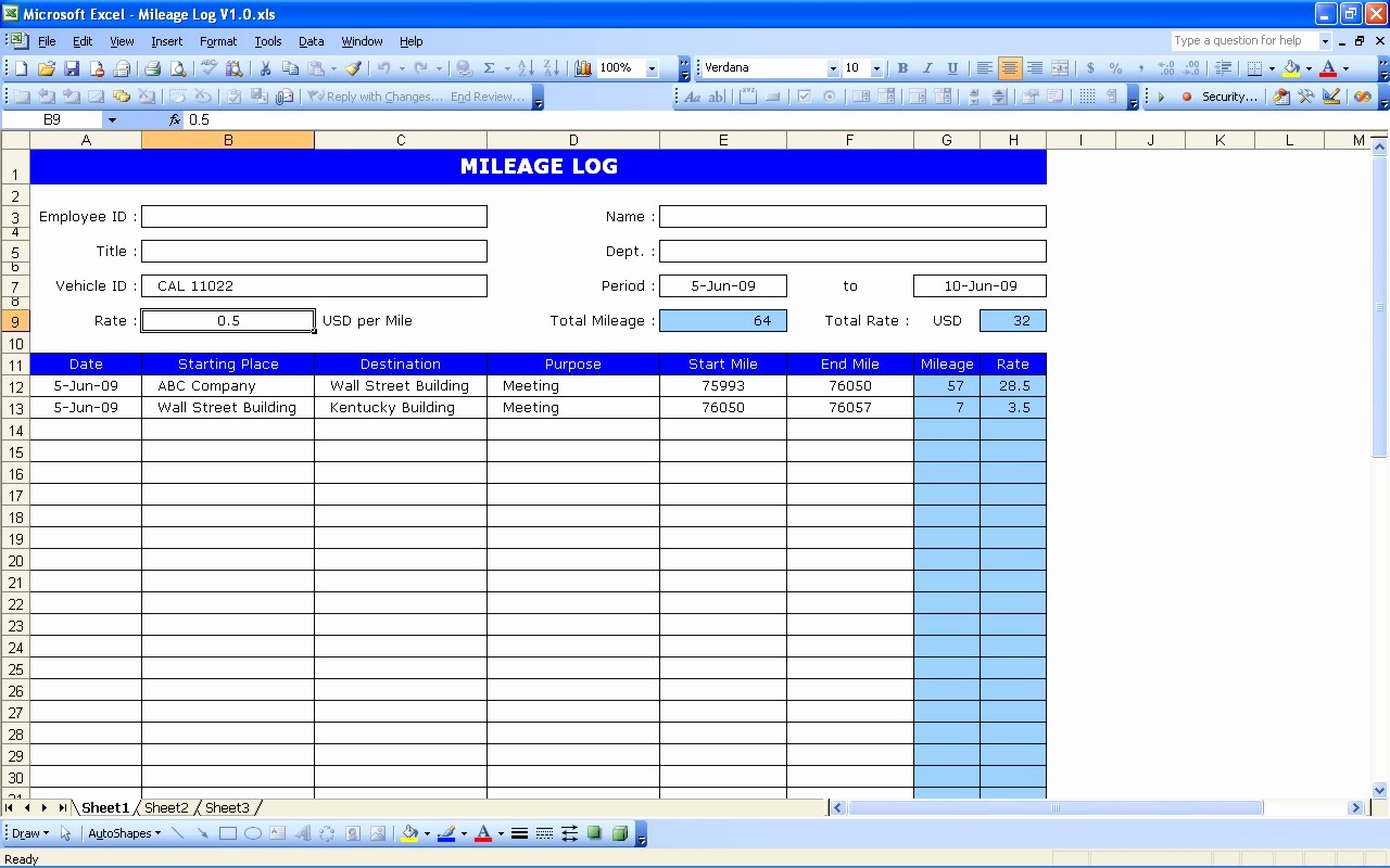 Gas Mileage Log Sheet Free Lovely 4 Excel Mileage Log Templates Excel Xlts