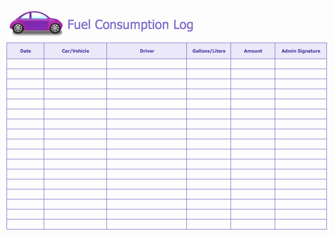 Gas Mileage Log Sheet Free Lovely Fuel Consumption Log Template Word Templates