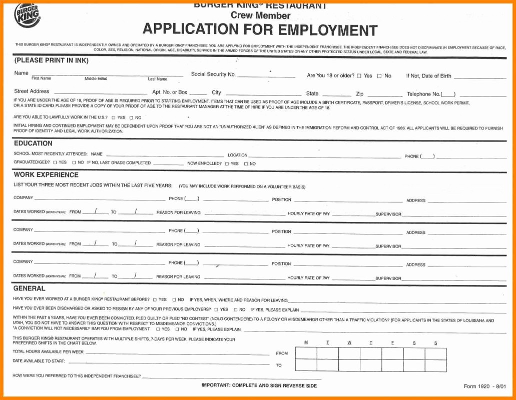 General Application for Employment Printable New Generic Job Application form