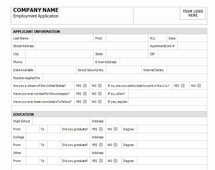 General Application for Employment Template Best Of Application for Employment Template