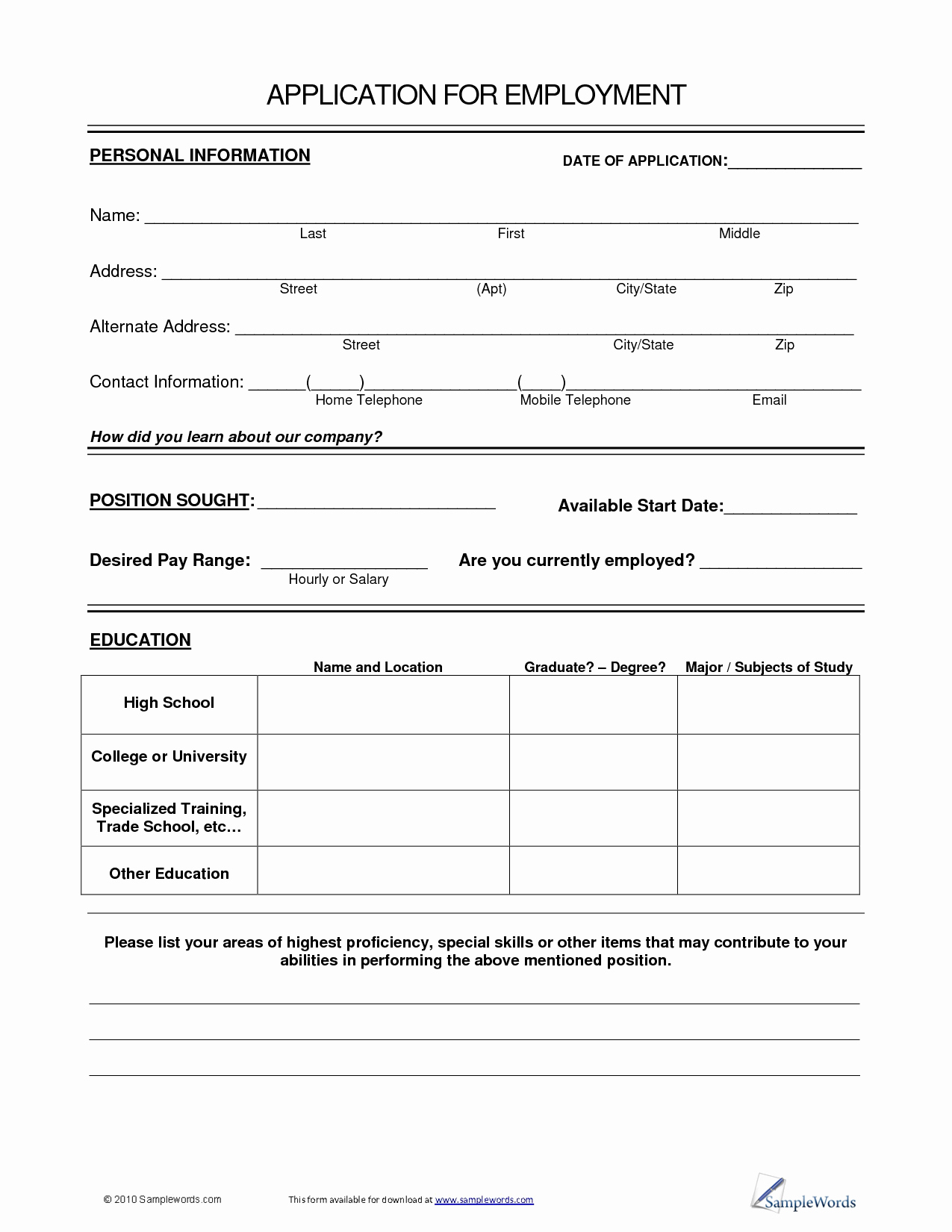 General Application for Employment Template Inspirational Best S Of General Employment Application form