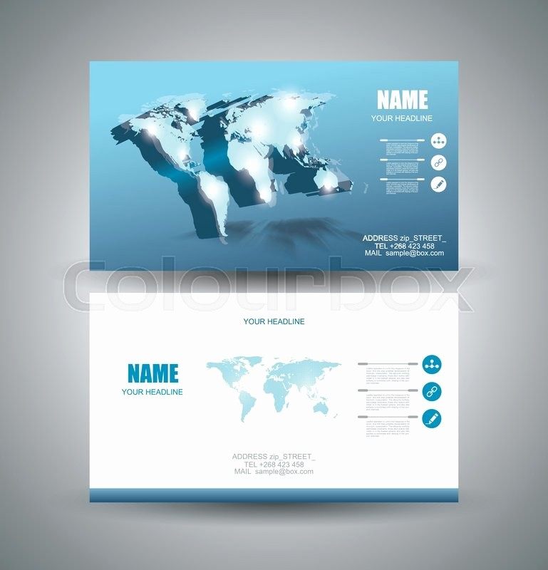 General Dynamics Business Card Template Beautiful Business Cards Design with 3d Vector Light World Map and