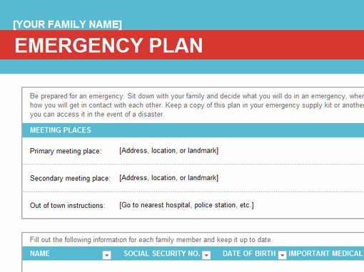 General Dynamics Business Card Template Elegant Family Emergency Plan