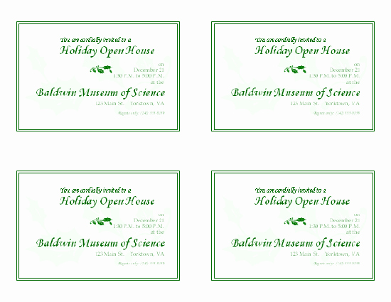 General Dynamics Business Card Template Unique Holiday Open House Invitation 4 Per Page
