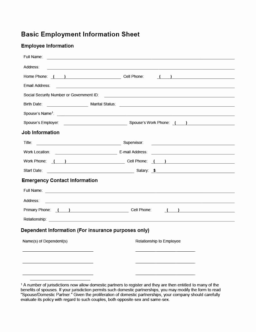 General Physical form for Employment Awesome Basic Employee Information form Five Things You Didn T Know