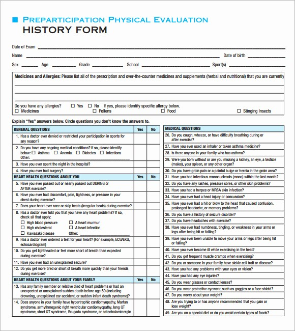 General Physical form for Employment Beautiful 9 Sample Physical Exam Templates to Download for Free