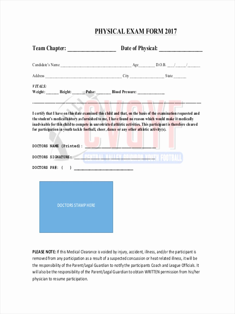 General Physical form for Employment Best Of 6 Physical Exam form Sample Free Sample Example format