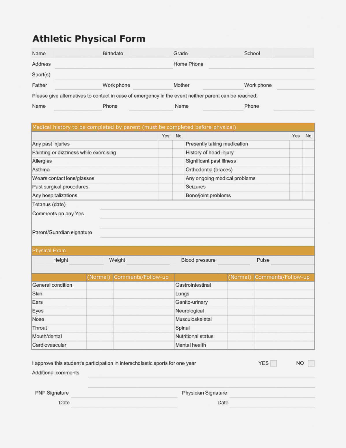 General Physical form for Employment Elegant the History General Physical form
