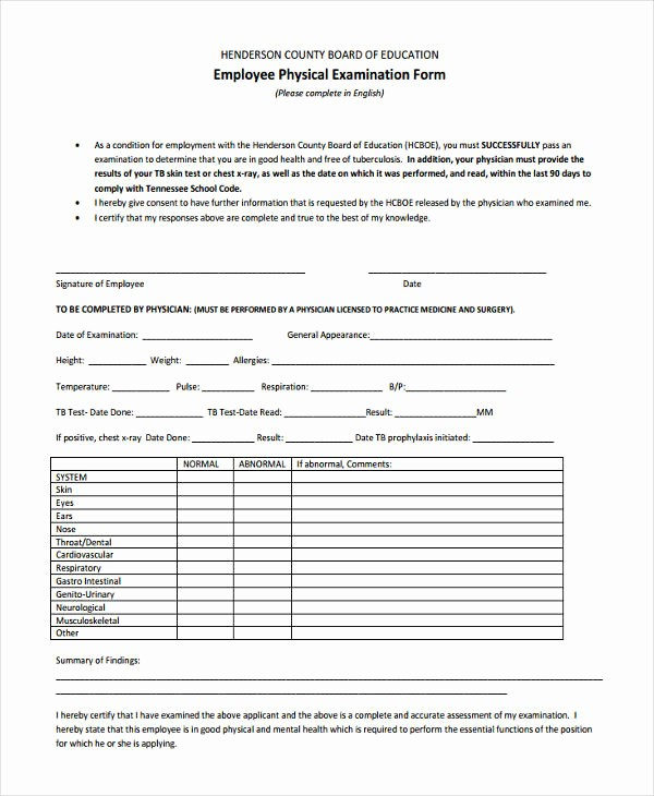 General Physical form for Employment Fresh 13 Generic Physical forms