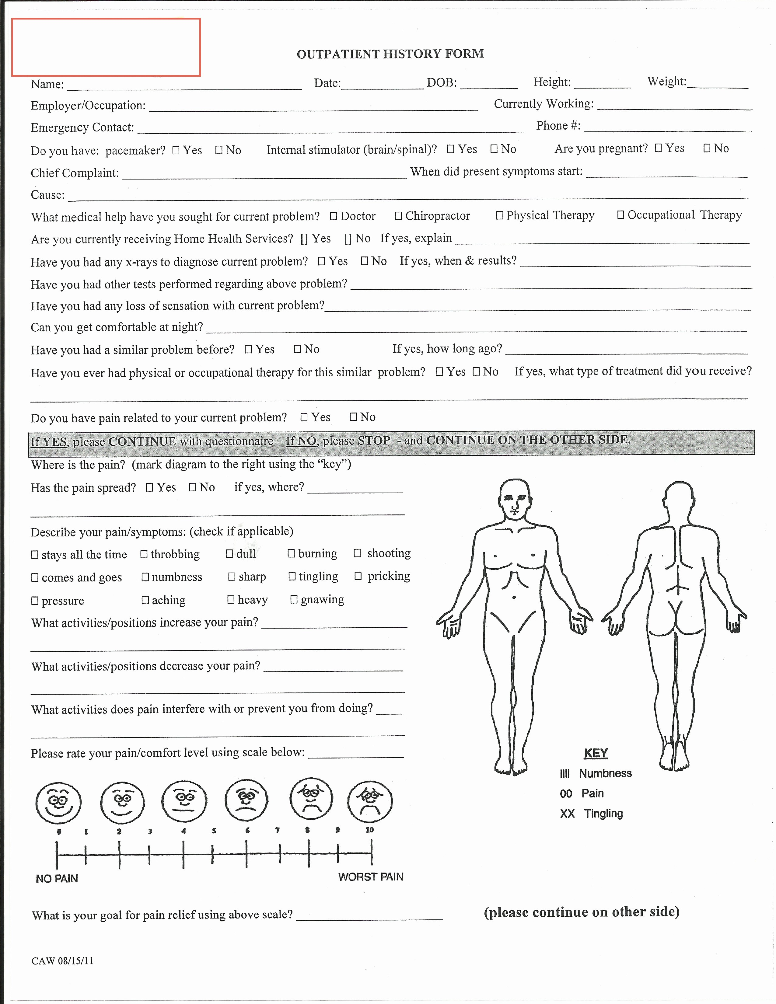 General Physical form for Employment Fresh Evaluation Physical therapy Evaluation form
