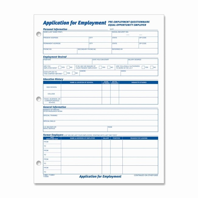 """General Physical form for Employment Fresh tops Employment Application form 50 Sheets 11"""" Length X 8"""