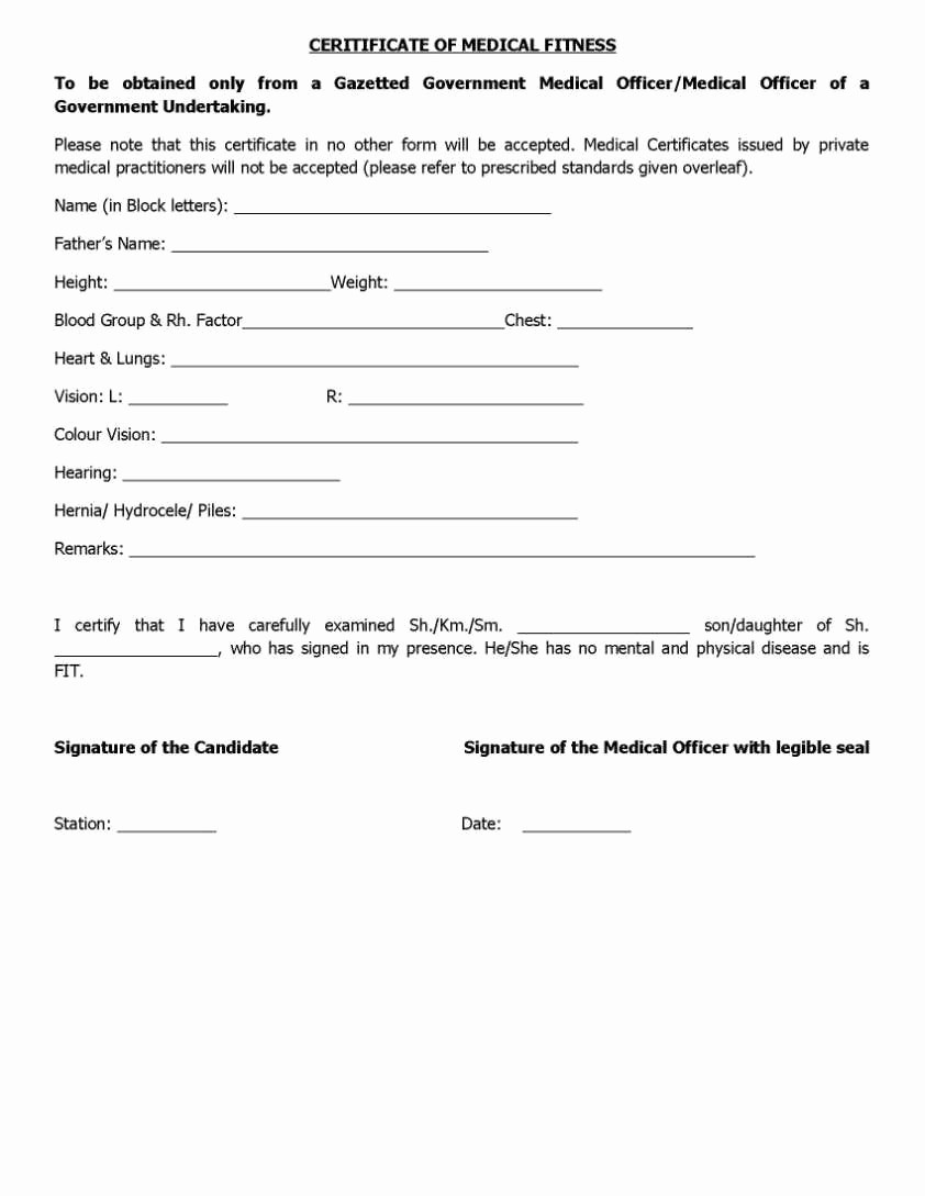 General Physical form for Employment New Physical Fitness Certificate form for Engineering