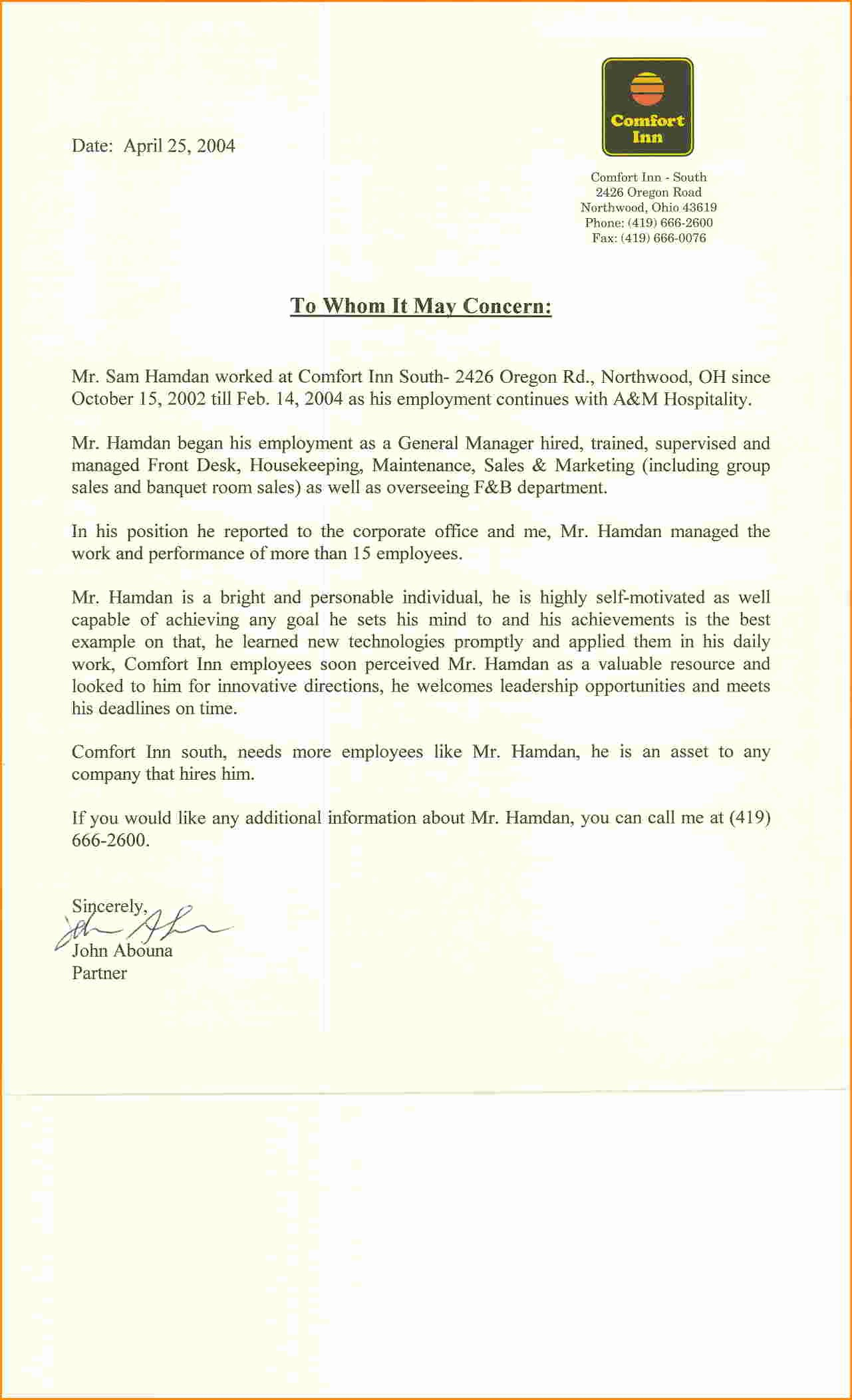 General Recommendation Letter for Employee Fresh General Letter Re Mendation for Employment