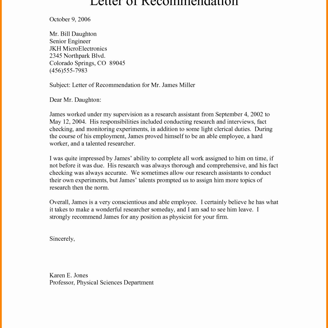 General Recommendation Letter for Employee Fresh General Re Mendation Letter for Employee