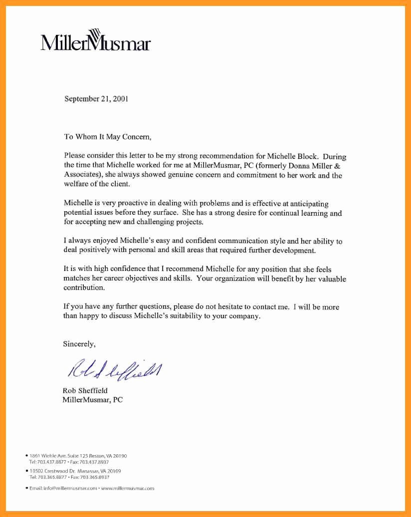 General Recommendation Letter for Employee Luxury Letter Of Re Mendation for Manager