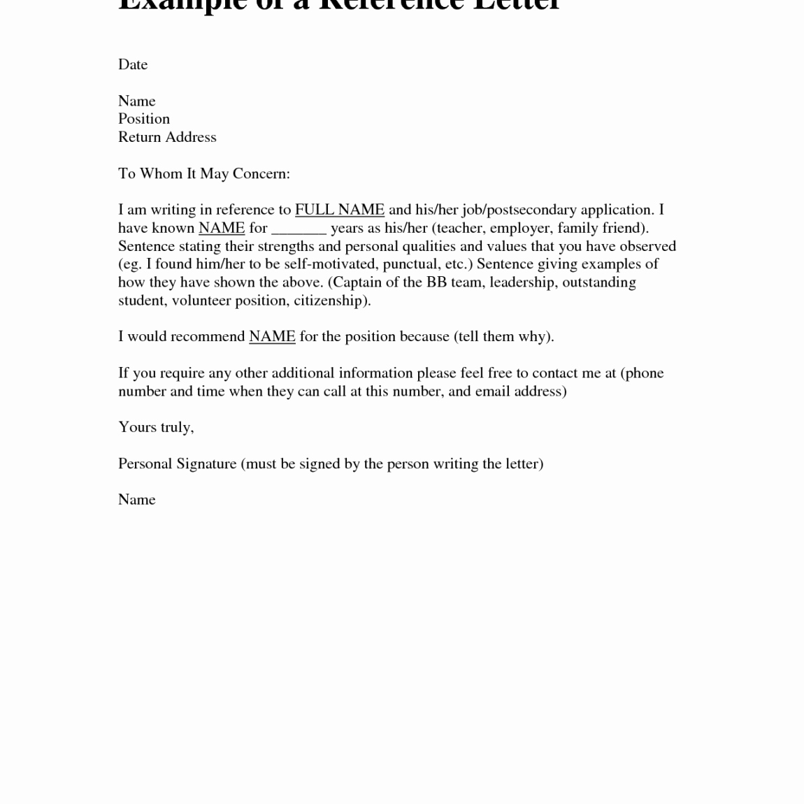 General Recommendation Letter for Employee New Bunch Ideas General Re Mendation Letter Examples