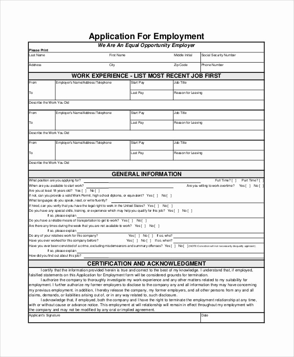 Generic Application for Employment form Beautiful 7 Employment Application form Samples Examples