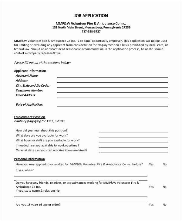 Generic Application for Employment form Beautiful Sample Generic Job Application form 9 Free Documents In