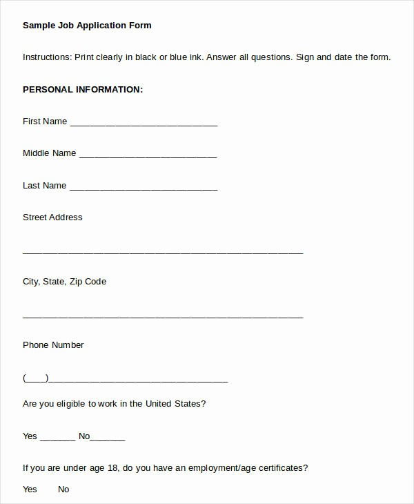 Generic Application for Employment form Best Of Blank Job Application 8 Free Word Pdf Documents